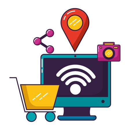 computer shopping cart location camera sharing wifi free connection vector illustration