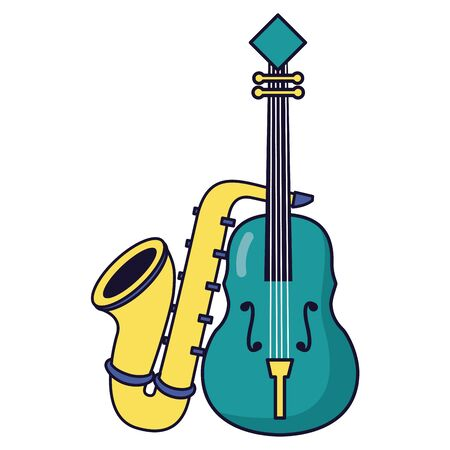 saxophone and fiddle festival music poster vector illustration