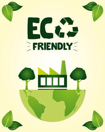 eco friendly solar panel trees earth save nature vector illustration Stock fotó - 129984499