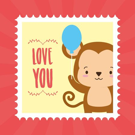 cute monkey animal mail stamp vector illustration