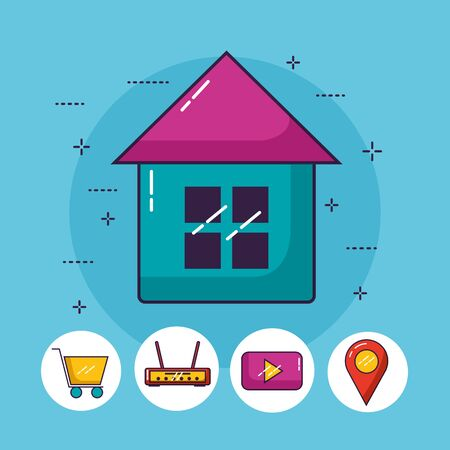 smart house shopping router navigation wifi free connection vector illustration 스톡 콘텐츠 - 130018100