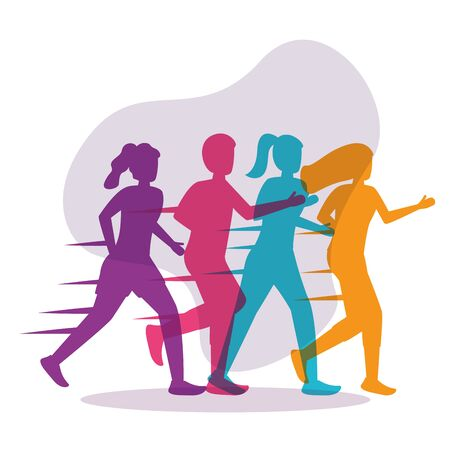 colorful silhouettes people running activity background vector illustration