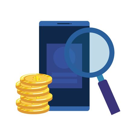 coins money dollars with smartphone and magnifying glass vector illustration Иллюстрация