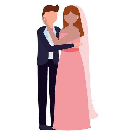 flat design wedding people groom and bride vector illustration Standard-Bild - 129983887