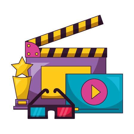 clapboard 3d glasses award and screen film movie vector illustration Illustration