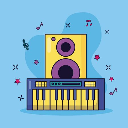 synthesizer and speaker music colorful background vector illustration Stock Illustratie