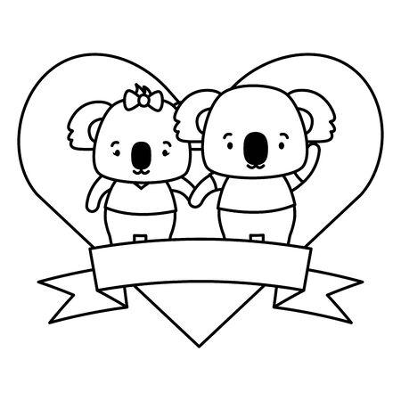 cute couple koalas animals heart love ribbon vector illustration