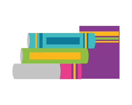 books stacked literature school supplies vector illustration design