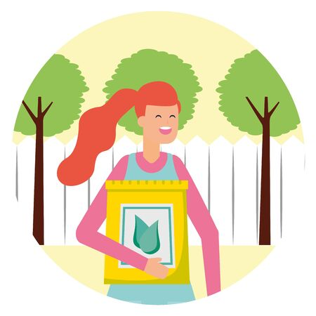 gardener woman with fertilizer gardening vector illustration