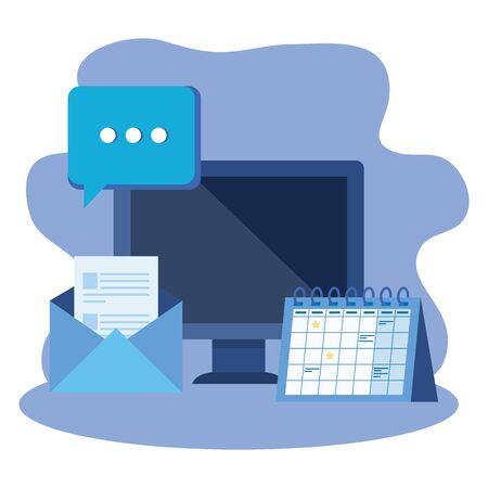 desktop computer with envelope mail vector illustration design Çizim