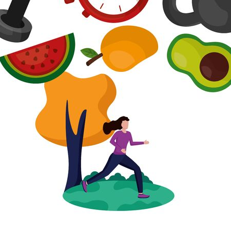 Avatar woman and healthy lifestyle design, Fitness bodybuilding bodycare activity exercise and diet theme Vector illustration Çizim