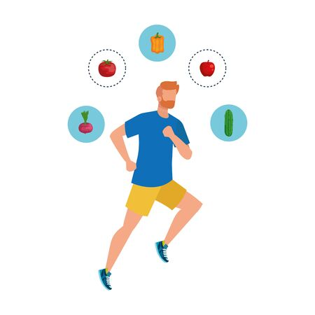 young athletic man running with healthy food vector illustration design