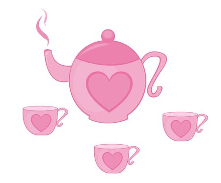 pink teapot and tea cup with heart isolated over white background. vector Ilustração