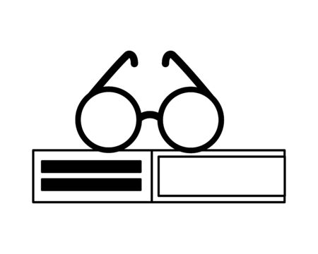 stack of books with glasses isolated icon vector illustration design