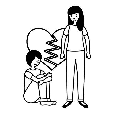 heart broken girl and boy mental psychological depressed vector illustration