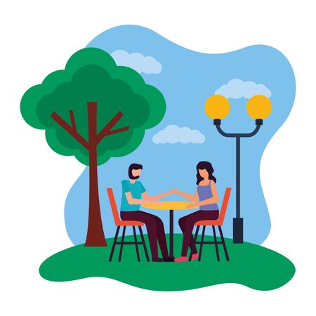 couple eat in the table romantic park vector illustration