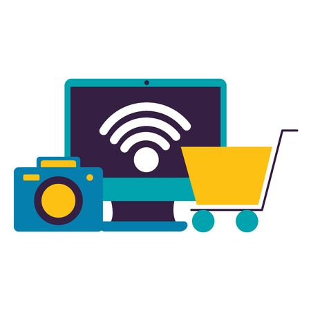 computer camera ecommerce wifi free connection vector illustration  イラスト・ベクター素材