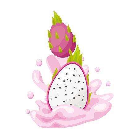 dragon fruit juice splash tropical fruits vector illustration