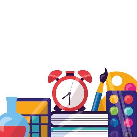 clock books flask calculator color palette back to school vector illustration