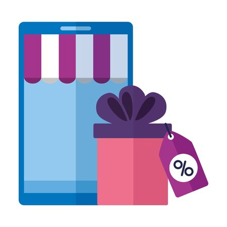 online shopping ecommerce smartphone and gift tag price vector illustration  イラスト・ベクター素材