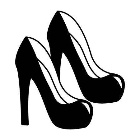 high heel shoes fashion on white background vector illustration Stockfoto - 130019483