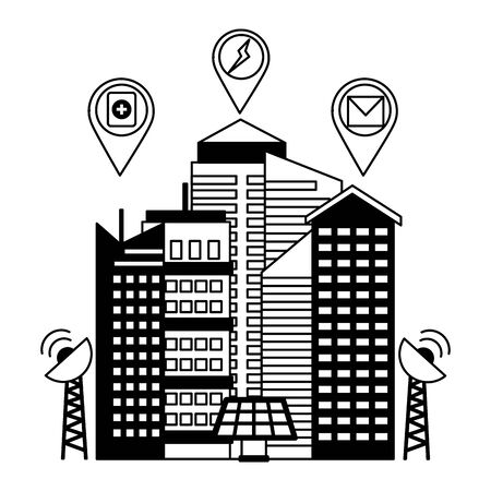 smart city building energy renewable antenna location pin vector illustration