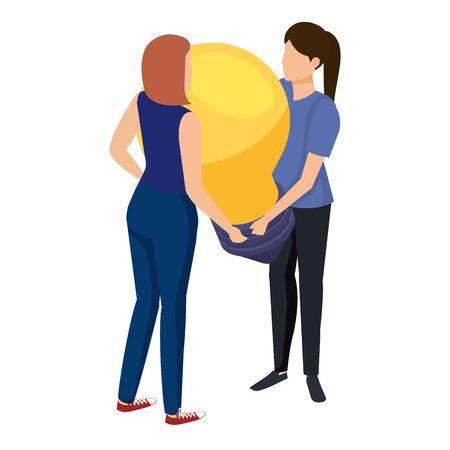 young women lifting bulb light vector illustration design