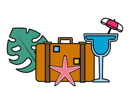 summer time holiday suitcase cocktail starfish tropical leaf vector illustration Иллюстрация