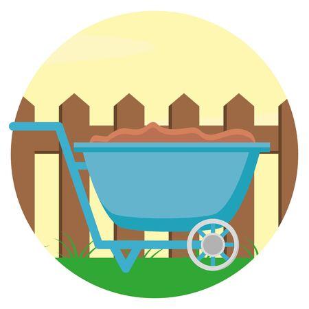 wheelbarrow with soil wooden fence gardening flat design vector illustration Illustration