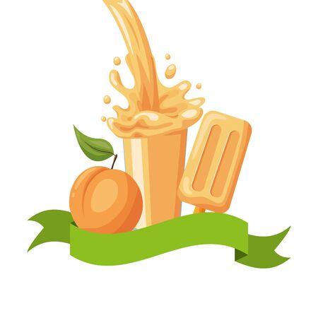 peach juice ice cream splash tropical fruits vector illustration