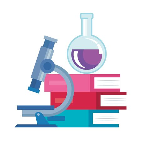 pile textbooks with tube test and microscope vector illustration design Stock Illustratie