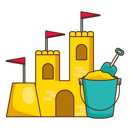 beach bucket shovel sand castle vector illustration