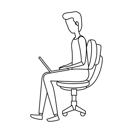 elegant businessman using laptop seated in office chair vector illustration design Ilustração
