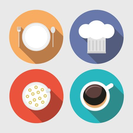 breakfast cooking icons coffee plate hat vector illustration