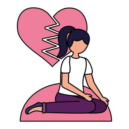 heart break woman with mental psychological depressed vector illustration Stock Illustratie