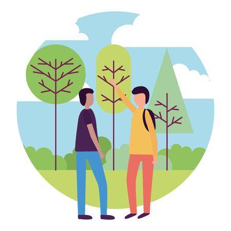 men talking in the park activities outdoors vector illustration