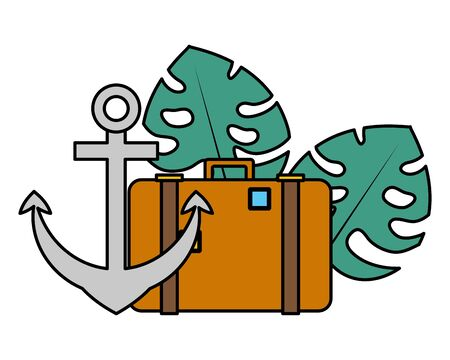 summer time holiday suitcase anchor leaves tropical vector illustration