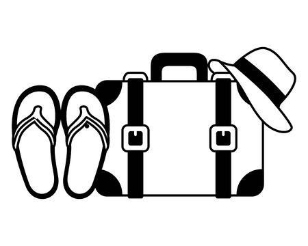 vacations suitcase sandals and hat vector illustration