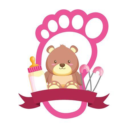 bear milk bottle footprint girl decoration baby shower card vector illustration