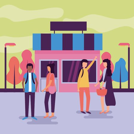 people talking in the street front market activities outdoors vector illustration Ilustracja