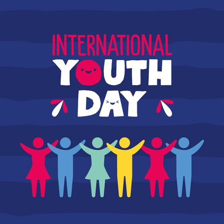 people campaign international happy youth day flat design vector illustration