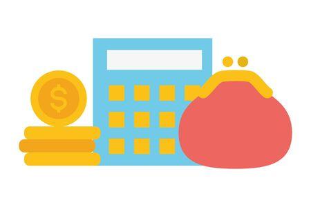 Taschenrechner Geldbörse Online-Zahlungsvektorillustration Vektorgrafik