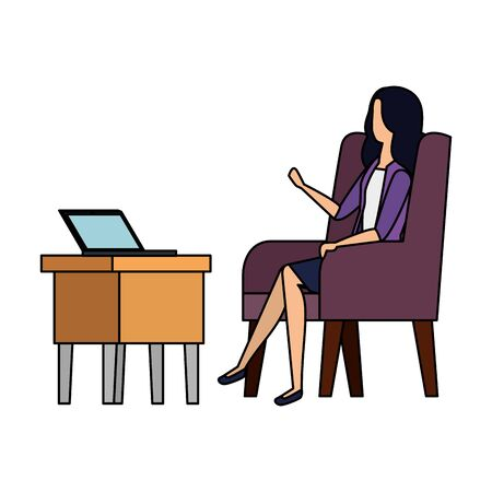 businesswoman worker in the sofa using laptop vector illustration design