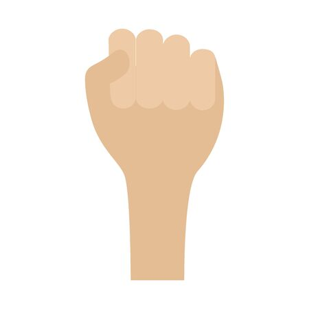 hand raised fist on white background vector illustration