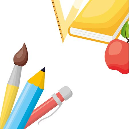 apple pencil pen paintbrush book apple back to school vector illustration