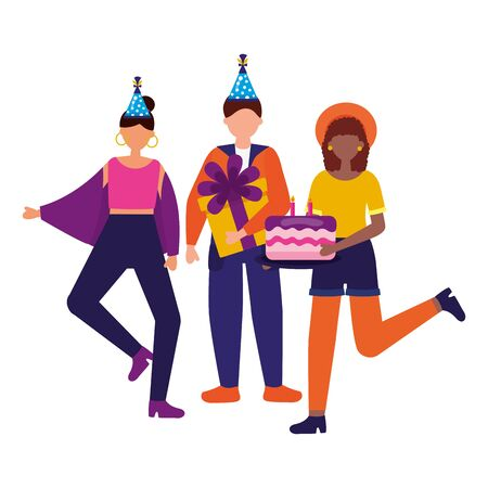 happy women and man with cake gift birthday celebration vector illustration