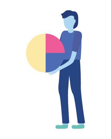 businessman holding diagram pie report vector illustration Фото со стока - 130022821