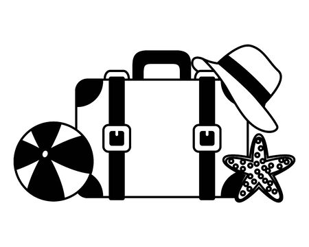beach vacations suitcase ball hat starfish  vector illustration