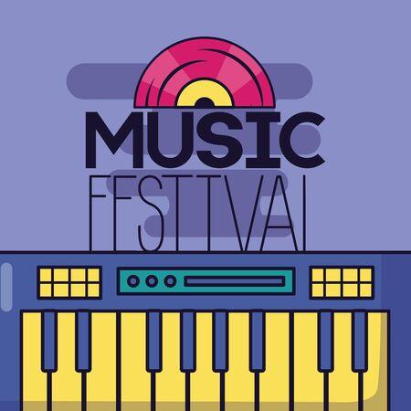 synthesizer vinyl record music festival background vector illustration  イラスト・ベクター素材
