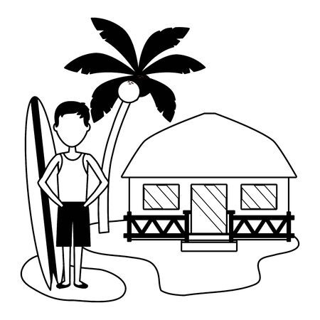 summer time holiday man with surfboard bungalow in the beach vector illustration  イラスト・ベクター素材